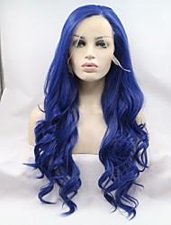 Недорогие -Синтетические кружевные передние парики Жен. Естественные кудри Синий Стрижка каскад 130% Человека Плотность волос Искусственные волосы 24 дюймовый Женский Синий Парик Длинные Лента спереди