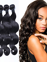Недорогие -3 Связки Малазийские волосы Естественные кудри 100% Remy Hair Weave Bundles Плетение 14 дюймовый Ткет человеческих волос Расширения человеческих волос