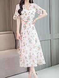 Недорогие -женское платье миди с V-образным вырезом с v-образным вырезом розовый белый черный м х х х х л