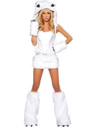 Недорогие -Волк-женщины Туфли Перчатки Шапки Костюм Жен. Взрослые Хэллоуин Рождество Рождество Хэллоуин Карнавал Фестиваль / праздник Терилен Полиэстер Инвентарь Белый Животное