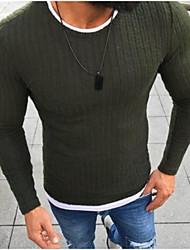 Недорогие -Муж. Повседневные Классический Однотонный Длинный рукав Обычный Пуловер Черный / Красный / Серый XXXL / 4XL / XXXXXL