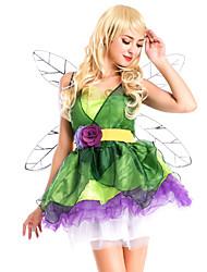 abordables -Elf Fée Costume Femme Adulte Halloween Halloween Carnaval Mascarade Fête / Célébration Tulle Tenue Vert Animal
