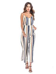 رخيصةأون -أفرول حمالات سباكيتي طول الأرض شيفون فستان مع فتحة أمامية بواسطة