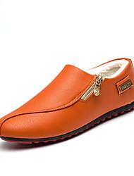 זול -בגדי ריקוד גברים נעלי נוחות PU חורף יום יומי נעליים ללא שרוכים נושם שחור / כתום / מסיבה וערב