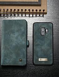 Недорогие -Кейс для Назначение SSamsung Galaxy S9 Кошелек / Бумажник для карт / со стендом Чехол Однотонный Твердый Кожа PU для S9