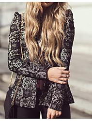 Недорогие -Жен. Повседневные Уличный стиль Осень Обычная Куртка, Геометрический принт Круглый вырез Длинный рукав Полиэстер Черный M / L / XL