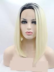abordables -Peluca Lace Front Sintéticas Rizado Estilo Corte Bob Encaje Frontal Peluca Negro Negro / Blanco Pelo sintético 12 pulgada Mujer Mujer Negro / Blanco Peluca Corta Sylvia 130% Densidad del pelo humano