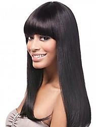 Недорогие -Необработанные натуральные волосы Лента спереди Парик стиль Индийские волосы Прямой Парик 130% Плотность волос Жен. Средняя длина Парики из натуральных волос на кружевной основе