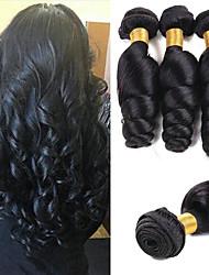 Недорогие -3 Связки Малазийские волосы Свободные волны Натуральные волосы Необработанные натуральные волосы Wig Accessories Головные уборы Человека ткет Волосы 8-28 дюймовый Естественный цвет