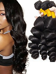 Χαμηλού Κόστους -6 πακέτα Περουβιανή / Ινδική Κυματιστό / Χαλαρό Κυματιστό Φυσικά μαλλιά / Χωρίς επεξεργασία Ανθρώπινη Τρίχα Δώρα / Υφάνσεις ανθρώπινα μαλλιών / Περιποίηση μαλλιών 8-28 inch Μαύρο Φυσικό Χρώμα