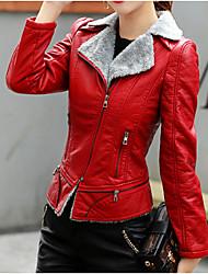 Недорогие -Жен. Повседневные Уличный стиль Зима Короткая Кожаные куртки, Однотонный Рубашечный воротник Длинный рукав Полиуретановая Черный / Красный L / XL / XXL