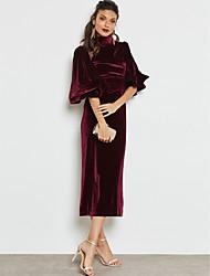 رخيصةأون -فستان نسائي قياس كبير ثوب ضيق أناقة الشارع راقي بدون ظهر طويل للأرض نحيل لون سادة خصر عالي قبعة القميص عمل / مثير