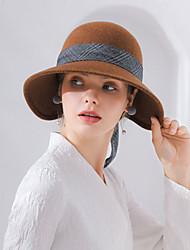 Недорогие -Elizabeth Чудесная миссис Мейзел Фетровые шляпы шляпа Дамы Ретро Жен. Серый / Красный / Кофейный Бант Конструкция САР Шерсть Тюль костюмы