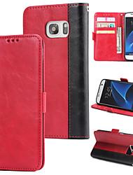 Недорогие -Кейс для Назначение SSamsung Galaxy S7 Кошелек / Бумажник для карт / Флип Кейс на заднюю панель Однотонный Твердый Кожа PU