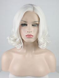 abordables -Perruque Lace Front Synthétique Bouclé Style Partie libre Lace Frontale Perruque Blanc Blanc crème Cheveux Synthétiques 12-16 pouce Femme Ajustable / Dentelle / Résistant à la chaleur Blanc Perruque