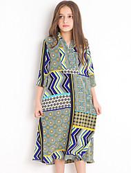 お買い得  -子供 女の子 ボヘミアン 日常 幾何学模様 プリント 七分袖 ミディ ポリエステル ドレス グリーン