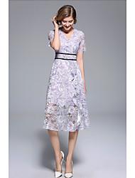 رخيصةأون -A-الخط دوران رقبة حرف V دائري طول الركبة دانتيل فستان مع شريط و شاح بواسطة