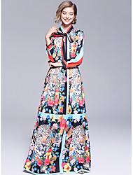Недорогие -А-силуэт Вырез под горло В пол Джерси Винтажная коллекция Платье с Бант(ы) от LAN TING Express