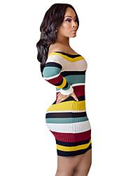 baratos -Mulheres Básico Tricô Vestido Acima do Joelho