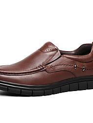 hesapli -Erkek Ayakkabı Nappa Leather İlkbahar & Kış Klasik / Günlük Mokasen & Bağcıksız Ayakkabılar Günlük / Ofis ve Kariyer için Siyah / Kahverengi