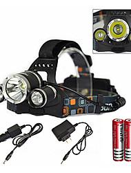 Недорогие -Налобные фонари LED излучатели 6000 lm 1 Режим освещения с зарядным устройством с батарейками и зарядным устройством Масштабируемые Водонепроницаемый Перезаряжаемый