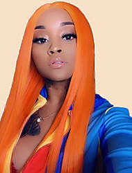 Недорогие -Не подвергавшиеся окрашиванию Полностью ленточные Парик Бразильские волосы Прямой Оранжевый Парик Глубокое разделение 130% Плотность волос 12-24 дюймовый с детскими волосами 100