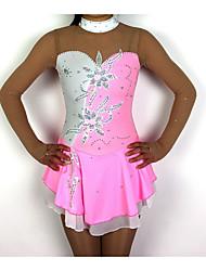 baratos -Vestidos para Patinação Artística Mulheres / Para Meninas Patinação no Gelo Vestidos Rosa claro Patchwork Elastano Elasticidade Alta Competição Roupa para Patinação Clássico Manga Longa Patinação