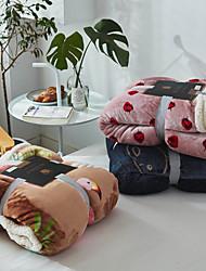 Недорогие -Фланель, С принтом Геометрический принт / Изгибы / Цветочные / ботанический 100%микро волокно / Шерстяная ткань / руно одеяла