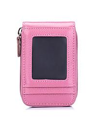 Недорогие -Воловья кожа Сплошной цвет Визитница / бумажник Молнии / Несколько слоев Сплошной цвет Пурпурный / Кофейный / Розовый