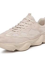 baratos -Homens Sapatos Confortáveis Couro Sintético / Com Transparência Primavera Verão Esportivo Tênis Corrida Preto / Bege / Vermelho