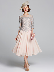 d005cc6ad66 A-Line Jewel Neck Tea Length Chiffon   Lace Mother of the Bride Dress with  Beading   Lace by LAN TING BRIDE®