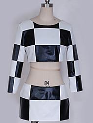 billiga -Inspirerad av Vocaloid Hatsune Miku Animé Cosplay-kostymer cosplay Suits Rutnät / Pläd Mönster / Svart & Vit Topp / Kjol / Mer accessoarer Till Herr / Dam