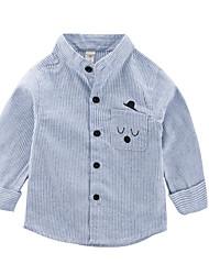 お買い得  -幼児 男の子 活発的 日常 ソリッド / ストライプ 長袖 レギュラー ポリエステル シャツ ライトブルー