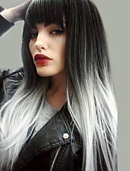 Недорогие -Парики из искусственных волос Естественный прямой Kardashian Стиль Ассиметричная стрижка Без шапочки-основы Парик Черный Черный / Белый Искусственные волосы 24 дюймовый Жен. / Природные волосы