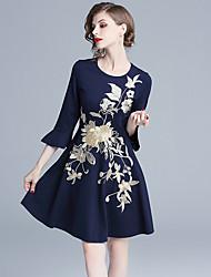 Недорогие -платье для женщин / работа миди стройное платье-футляр с завышенной талией королевский синий цвет s m l xl