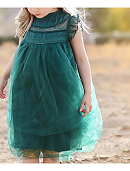 お買い得  -幼児 女の子 活発的 日常 ソリッド レース ノースリーブ 膝丈 ドレス グリーン