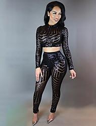 abordables -Femme Chic de Rue / Sophistiqué Set - Couleur Pleine, Paillettes Pantalon