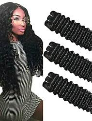 Недорогие -3 Связки Бразильские волосы Крупные кудри Натуральные волосы Необработанные натуральные волосы Головные уборы Человека ткет Волосы Сувениры для чаепития 8-28 дюймовый Естественный цвет
