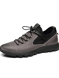 baratos -Homens Sapatos Confortáveis Pele Napa Inverno Tênis Preto / Cinzento