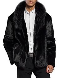 Недорогие -Муж. Повседневные Обычная Пальто с мехом, Однотонный Воротник шалевого типа Длинный рукав Искусственный мех Черный XL / XXL / XXXL