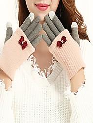 Недорогие -Жен. До запястья С пальцами Перчатки Хлопок, Контрастных цветов