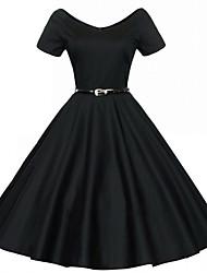 Недорогие -Одри Хепберн Ретро Маленькое черное платье 1950-е года В стиле 1960-х Оса-Waisted Костюм Жен. Платья Черный / Красный / Синий Винтаж Косплей Полиэстер С короткими рукавами Midi