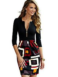 Недорогие -Жен. Классический Оболочка Платье - Геометрический принт, Пэчворк Завышенная V-образный вырез Выше колена / Сексуальные платья