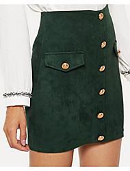 Недорогие -женские юбки-карандаш выше колена - сплошная цветная высокая талия