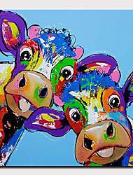Недорогие -Hang-роспись маслом Ручная роспись - Абстракция / Поп-арт Modern Без внутренней части рамки