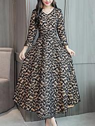 Недорогие -женское платье миди с V-образным вырезом с V-образным вырезом красный черный м х х х х л