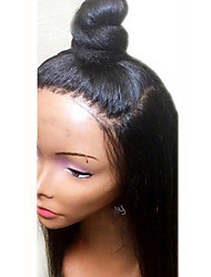 Недорогие -Синтетические кружевные передние парики Жен. Прямой / Вытянутые Черный Стрижка каскад / Средняя часть Искусственные волосы 18 дюймовый Мягкость / Жаропрочная / Природные волосы Черный Парик Длинные