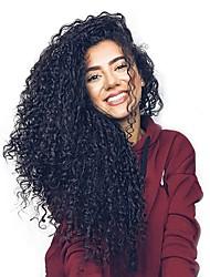 Недорогие -человеческие волосы Remy Полностью ленточные Лента спереди Парик Бразильские волосы Волнистые Глубокий курчавый Черный Парик Ассиметричная стрижка 130% 150% 180% Плотность волос