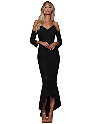 Недорогие -Жен. Элегантный стиль Облегающий силуэт Платье - Однотонный, Кружева Макси