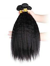 Недорогие -3 Связки Вытянутые Не подвергавшиеся окрашиванию Необработанные натуральные волосы Человека ткет Волосы Удлинитель Пучок волос 8-28 дюймовый Естественный цвет Ткет человеческих волос